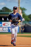 Mississippi Braves right fielder Drew Waters (3) jogs to the dugout during a Southern League game against the Jacksonville Jumbo Shrimp on May 5, 2019 at Trustmark Park in Pearl, Mississippi.  Mississippi defeated Jacksonville 1-0 in ten innings.  (Mike Janes/Four Seam Images)