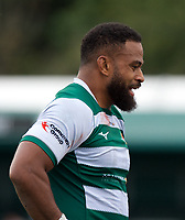 Andrew Durutalo of Ealing Trailfinders during the RFU Championship Cup match between Ealing Trailfinders and Ampthill RUFC at Castle Bar , West Ealing , England  on 28 September 2019. Photo by Alan  Stanford / PRiME Media Images