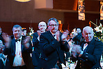 St Johnstone FC Scottish Cup Celebration Dinner at Perth Concert Hall...01.02.15<br /> Fans and guests at the dinner applaud the players<br /> Picture by Graeme Hart.<br /> Copyright Perthshire Picture Agency<br /> Tel: 01738 623350  Mobile: 07990 594431