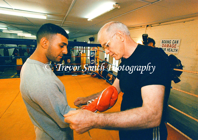 Boxer Prince Naseem Hamed  pictured with trainer Brndan Ingle at the Newman Road Boxing Gym, Sheffield