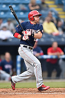 Hagerstown Suns designated hitter Ian Sagdal (13) swings at a pitch during a game against the Asheville Tourists at McCormick Field on April 26, 2016 in Asheville, North Carolina. The Suns defeated the Tourists 8-7. (Tony Farlow/Four Seam Images)