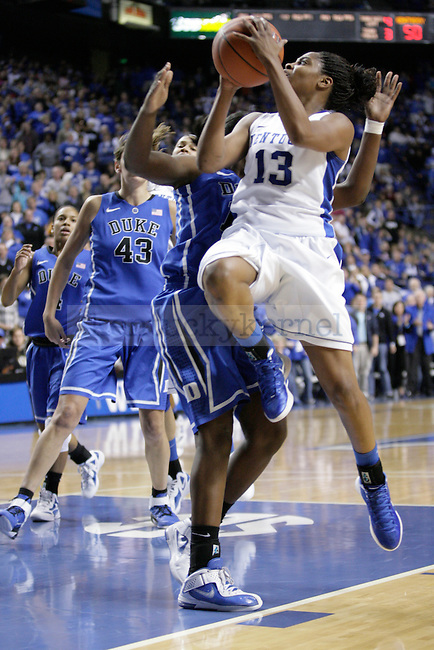 UK's Bria Goss puts a shot up against Duke at Rupp Arena on Thursday, Dec. 8, 2011. Photo by Scott Hannigan | Staff