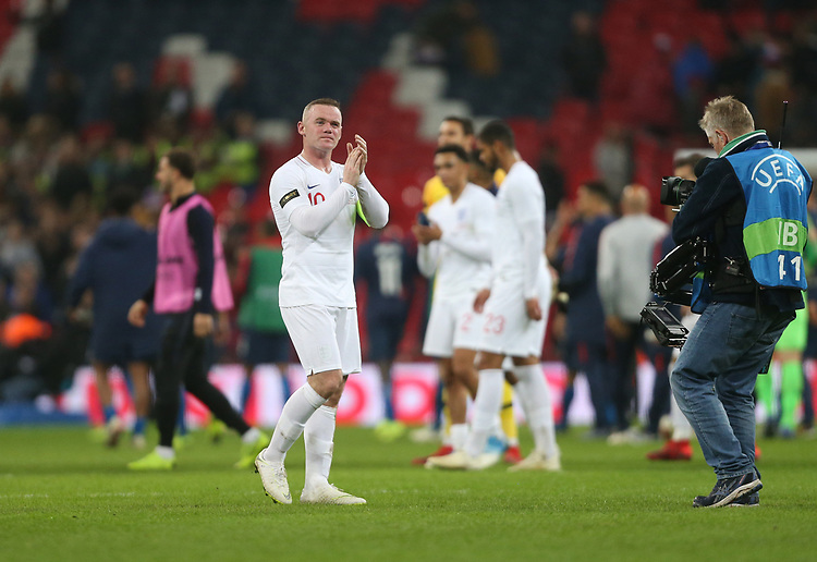England's Wayne Rooney applauds the fans at the end of the game<br /> <br /> Photographer Rob Newell/CameraSport<br /> <br /> The Wayne Rooney Foundation International - England v United States - Thursday 15th November 2018 - Wembley Stadium - London<br /> <br /> World Copyright © 2018 CameraSport. All rights reserved. 43 Linden Ave. Countesthorpe. Leicester. England. LE8 5PG - Tel: +44 (0) 116 277 4147 - admin@camerasport.com - www.camerasport.com