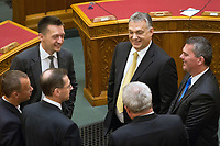 UNGARN, 10.05.2018, Budapest V. Bezirk. Eroeffnungssitzung des neuen Parlaments (4. Kabinett Orb&aacute;n). Fidesz-MP Viktor Orb&aacute;n. Links Kanzleramtsminister Anral Rogan. | Opening session of the new parliament (4th Orban cabinet). Fidesz PM Viktor Orban. To the left Antal Rogan, leader of the Prime Minister's Cabinet Office.<br /> &copy; Szilard Voros/estost.net