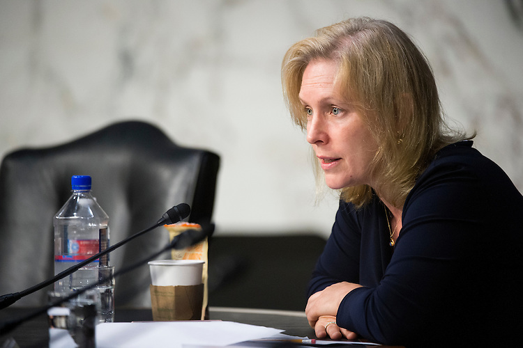 UNITED STATES - JULY 21: Sen. Kirsten Gillibrand, D-N.Y., questions the witness during the Senate Armed Services Committee hearing on the nomination of Army Gen. Mark Milley to be Army chief of staff on Tuesday, July 21, 2015. (Photo By Bill Clark/CQ Roll Call)