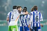 Solna 2014-03-31 Fotboll Allsvenskan AIK - IFK G&ouml;teborg :  <br /> G&ouml;teborgs Malick Man&eacute; Mane jublar med G&ouml;teborgs m&aring;lvakt John Alvb&aring;ge efter slutsignalen<br /> (Foto: Kenta J&ouml;nsson) Nyckelord:  AIK Gnaget Solna IFK G&ouml;teborg Bl&aring;vitt jubel gl&auml;dje lycka glad happy
