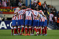 19.04.2012 MADRID, SPAIN - UEFA Europa League 11/12 Semi Finals match played between At. Madrid vs Valencia (4-2) at Vicente Calderon stadium. the picture show Atletico de Madrid players