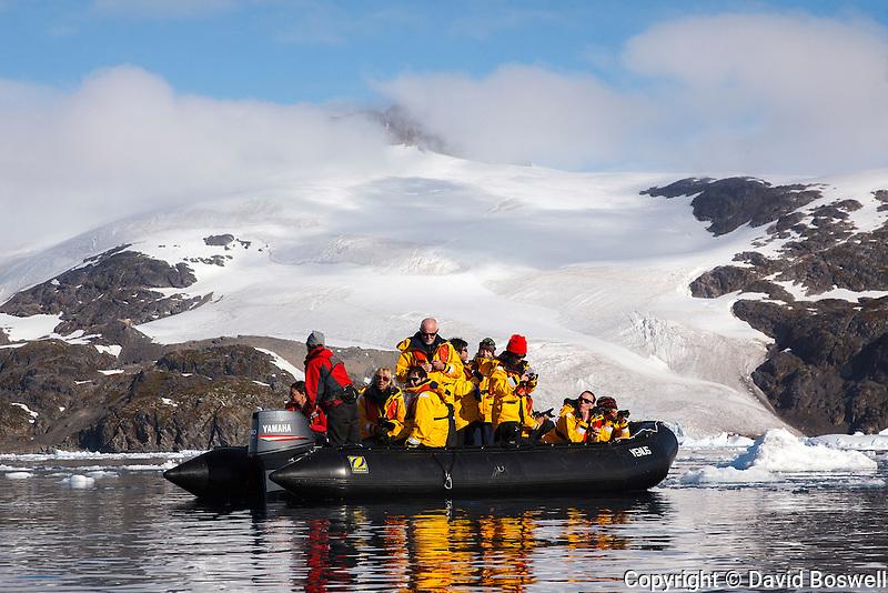 "Passengers of the Quark ship ""Sea Spirit"" enjoy a zodiac excursion in Cierva Cove on the Antarctic Peninsula."
