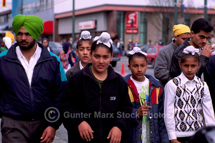 Sikh Family at East Indian Vaisakhi Parade, Vancouver, BC, British Columbia, Canada - Sikh New Year Celebration