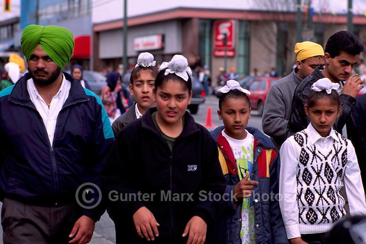 Sikh Family at East Indian Vaisakhi Parade, Vancouver, BC, British Columbia, Canada - Sikh New Year Celebration