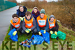 Students and volunteers helping cleaning up the railway tracks on the Blennerville arae on Thursday morning.  <br /> L to r: Gavin Doody, Enda O'Connor, Tomas Hannafin, Joseph Claro, Theresa Galvin and Kat Smith.