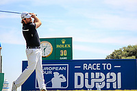 Victor Dubuisson (FRA) on the 1st during the 1st round of the 2017 Portugal Masters, Dom Pedro Victoria Golf Course, Vilamoura, Portugal. 21/09/2017<br /> Picture: Fran Caffrey / Golffile<br /> <br /> All photo usage must carry mandatory copyright credit (&copy; Golffile | Fran Caffrey)