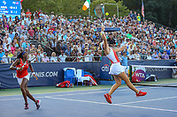 Washington, DC - August 3, 2019:  Catherine McNally (USA)jumps for the ball during the  Women Doubles finals at William H.G. FitzGerald Tennis Center in Washington, DC  August 3, 2019.  (Photo by Elliott Brown/Media Images International)