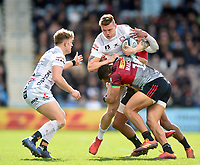 Jason Woodward of Gloucester Rugby is tackled by Joe Marchant of Harlequins. Gallagher Premiership match, between Harlequins and Gloucester Rugby on March 10, 2019 at the Twickenham Stoop in London, England. Photo by: Patrick Khachfe / JMP