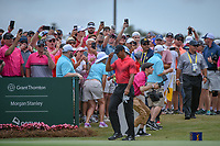 Tiger Woods (USA) arrives at the first tee during round 4 of The Players Championship, TPC Sawgrass, at Ponte Vedra, Florida, USA. 5/13/2018.<br /> Picture: Golffile | Ken Murray<br /> <br /> <br /> All photo usage must carry mandatory copyright credit (&copy; Golffile | Ken Murray)