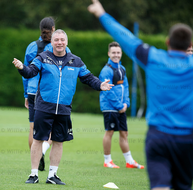 Rangers manager Ally McCoist gestures to skipper Lee McCulloch