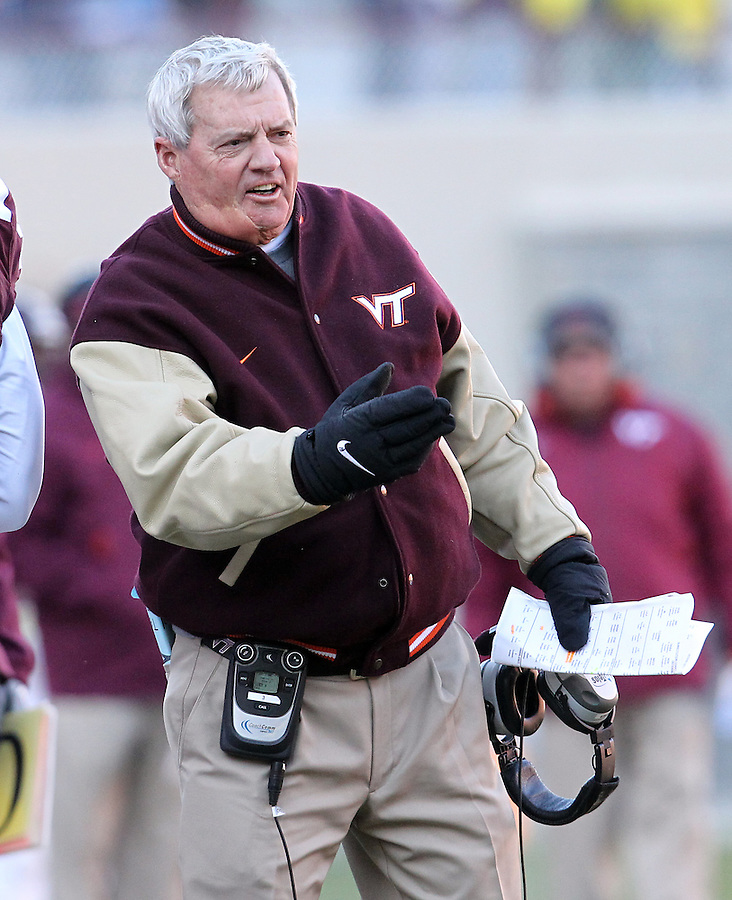 Nov 27, 2010; Charlottesville, VA, USA;  Virginia Tech head coach Frank Beamer during the game against the Virginia Cavaliers at Lane Stadium. Virginia Tech won 37-7. Mandatory Credit: Andrew Shurtleff-