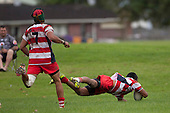 Reynold Lee-Lo dives over in the corner to score one of Karaka's 4 tries. Counties Manukau Premier rugby game between Manurewa and Karaka, played at Mountfort Park Manurewa, on Saturday 30th of April 2011..Karaka won the game 29 - 19 after trailing 11 - 7 at halftime and in the process retain the Challenge Cup, for winning the first round.