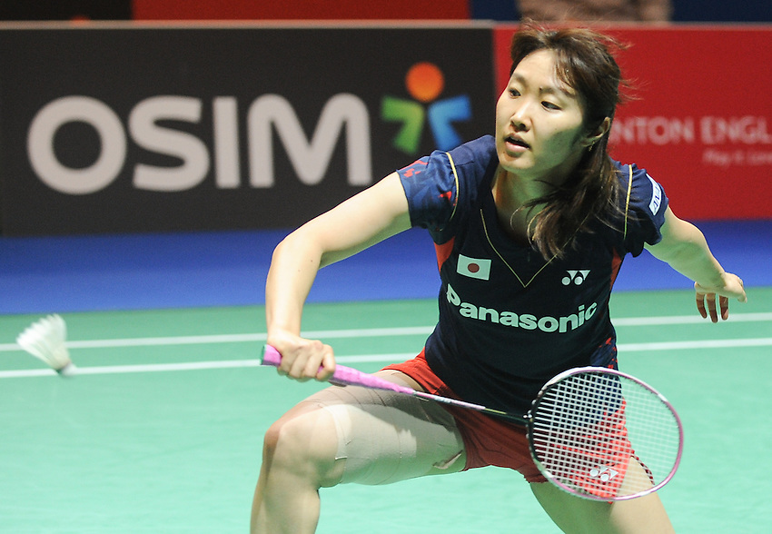Eriko HIROSE [JPN]  in action today during her defeat to Ji Hyun SUNG [5] [KOR] in their Woman's singles Quarter final match. Ji Hyun SUNG [5] [KOR] bt Eriko HIROSE [JPN] 1-13 21-12..BWF -  2013 Yonex All England Badminton Championships Super Series Premier - The National Indoor Arena - Birmingham - England - Friday 08th March 2013..© CameraSport - 43 Linden Ave. Countesthorpe. Leicester. England. LE8 5PG - Tel: +44 (0) 116 277 4147 - admin@camerasport.com - www.camerasport.com