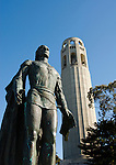 California, San Francisco: A sculpture of Christopher Columbus at Coit Tower..Photo #: 19-casanf79180.Photo © Lee Foster 2008