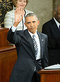 United States President Barack Obama waves as he arrives to deliver his final State of the Union Address in the US House Chamber in the US Capitol on Tuesday, January 12, 2016.<br /> Credit: Ron Sachs / CNP<br /> (RESTRICTION: NO New York or New Jersey Newspapers or newspapers within a 75 mile radius of New York City)