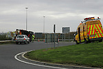An overturned truck on the Roundabout behind Homebase on Friday afternoon. Photo: Newsfile/Fran Caffrey.