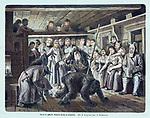 """Святки в деревне. Появление масок на вечеринке. Гравюра из журнала """"Всемирная иллюстрация"""", Россия, 1875 год."""