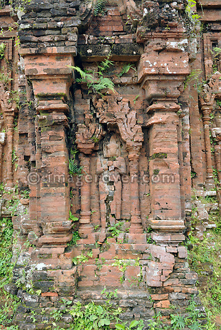 Asia, Vietnam, My Son near Hoi An. Temple ruins of group B. Designated a Unesco World Heritage Site, the temple complex of My Son is located in a dense, vegetaded valley beneath Hon Quap or Cat's Tooth Mountain. Having been a religious center from the 4th to the 13th century, today traces of ca. 70 temples may be found, though only about 20 are in good condition. The monuments are divided into 10 groups.