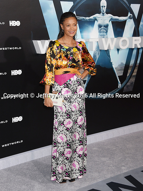 HOLLYWOOD, CA - SEPTEMBER 28: Actress Thandie Newton attends the premiere of HBO's 'Westworld' at TCL Chinese Theater on September 28, 2016 in Hollywood, California.