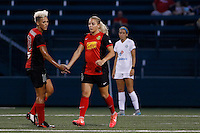Rochester, NY - Saturday July 23, 2016: Western New York Flash forward Adriana Leon (19), Western New York Flash midfielder Lianne Sanderson (10) during a regular season National Women's Soccer League (NWSL) match between the Western New York Flash and FC Kansas City at Rochester Rhinos Stadium.