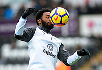 Burnley's Georges-Kevin Nkoudou during the pre-match warm-up  <br /> <br /> Photographer Ashley Crowden/CameraSport<br /> <br /> The Premier League - Swansea City v Burnley - Saturday 10th February 2018 - Liberty Stadium - Swansea<br /> <br /> World Copyright &copy; 2018 CameraSport. All rights reserved. 43 Linden Ave. Countesthorpe. Leicester. England. LE8 5PG - Tel: +44 (0) 116 277 4147 - admin@camerasport.com - www.camerasport.com
