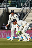 BJ Watling fields the ball  with with Ross Taylor of the Black Caps during Day 3 of the Second International Cricket Test match, New Zealand V England, Hagley Oval, Christchurch, New Zealand, 1st April 2018.Copyright photo: John Davidson / www.photosport.nz