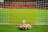 A wreath is laid in memory of former Blackpool and Exeter City player Russell Coughlin<br /> <br /> Photographer Kevin Barnes/CameraSport<br /> <br /> Football - The EFL Sky Bet League Two - Blackpool v Exeter City - Saturday 6th August 2016 - Bloomfield Road - Blackpool<br /> <br /> World Copyright &copy; 2016 CameraSport. All rights reserved. 43 Linden Ave. Countesthorpe. Leicester. England. LE8 5PG - Tel: +44 (0) 116 277 4147 - admin@camerasport.com - www.camerasport.com
