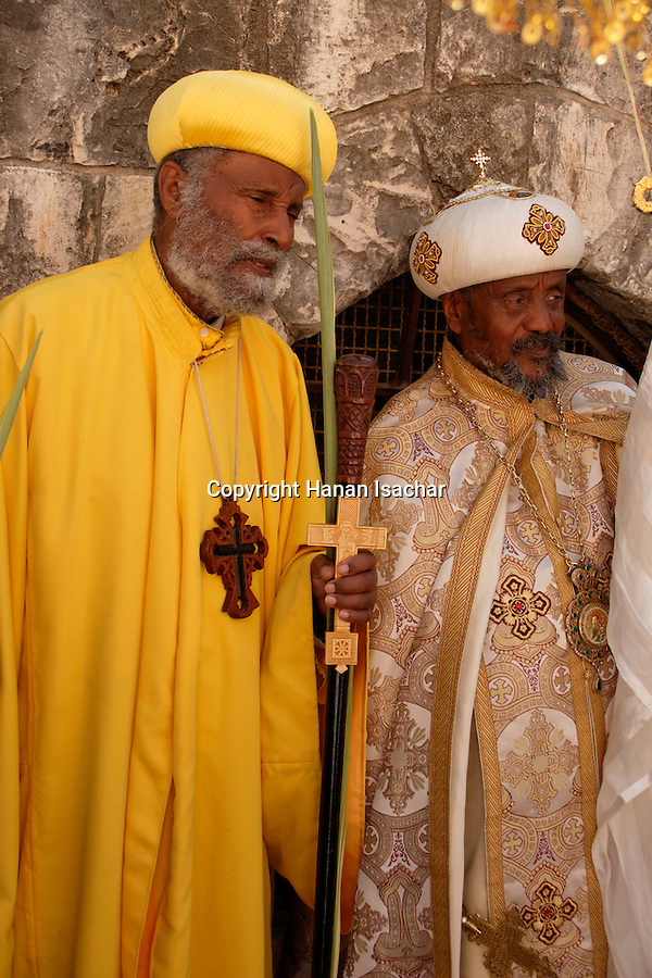 Israel, Jerusalem Old City, Ethiopian Orthodox Priests at Deir es Sultan by the dome of St. Helena Chapel at the Church of the Holy Sepulchre on Palm Sunday, Easter, 2005<br />