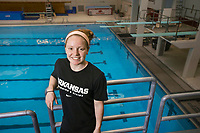 Hawgs Illustrated/BEN GOFF <br /> Brooke Schultz, a freshman diver from Fayetteville, poses for a photo Wednesday, Oct. 4, 2017 at the HPER building in Fayetteville.
