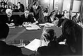 Paris, France- (FILE) -- Dr. Henry Kissiinger, background, center, initialling the cease fire agreement in Paris, France on Tuesday, January 23, 1973. In the foreground Le Duc Tho, Special Advisor to DRV Delegation to Paris Conference on Vietnam, affixes his signature. On Kissinger's right is Ambassador William H. Sullivan.<br /> Credit: White House via CNP