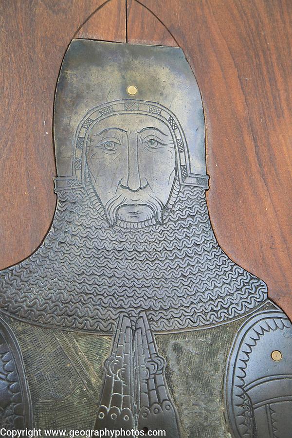 Brass memorial Sir John Wingfield circa 1389, church of Saint Mary, Letheringham, Suffolk, England, UK