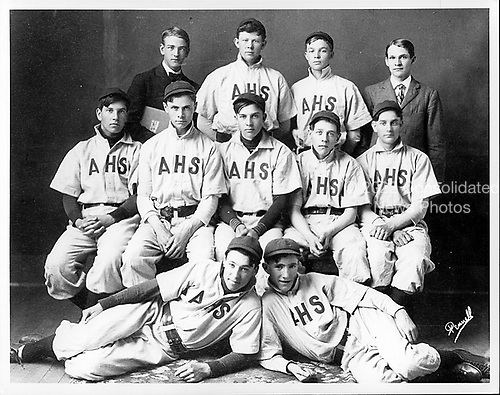 Abilene, Kansas - Undated file photo -- Dwight D. Eisenhower, 2nd from right in top row, as member of the Abilene, Kansas High School baseball team - circa 1909..Credit: U.S. Army photo / CNP