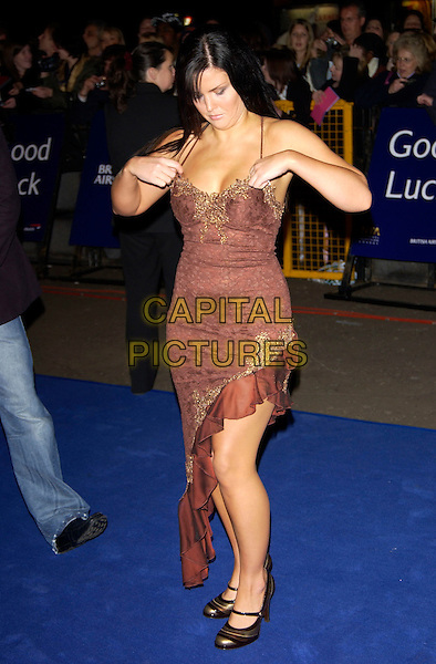 MICHELLE BASS (BIG BROTHER 5 ).10th Anniversary National Television Awards. Royal Albert Hall, London, October 26th 2004..full length brown dress pulling up adjusting boobs cleavage.Ref: PL.www.capitalpictures.com.sales@capitalpictures.com.©Capital Pictures.