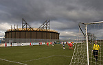 Lostock St. Gerard's 0 AFC Darwen 2, 13/02/2010. Waterlingpool Lane, West Lancashire Football League. Action from Lostock St. Gerard's game against AFC Darwen (red) in a West Lancashire Football League fixture with the area's distinctive gas holders as a backdrop. AFC Darwen won by 2 goals to nil. The league was formed in 1904, although 1905-06 was the first season and sits at step seven of the pyramid system. Photo by Colin McPherson.