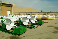 Al Mohtasem military compound, central Iraq, Feb 7, 2003..Iraqi made Al Fath and Al Samud missiles inside the Al Sumud military industrial compound. This site was described by Colin Powell during his UN speech.