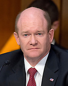 United States Senator Chris Coons (Democrat of Delaware) listens as Judge Neil Gorsuch testifies before US Senate Judiciary Committee on his nomination as Associate Justice of the US Supreme Court to replace the late Justice Antonin Scalia on Capitol Hill in Washington, DC on Tuesday, March 21, 2017.<br /> Credit: Ron Sachs / CNP