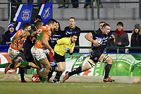 Sam Underhill of Bath Rugby goes on the attack. European Rugby Champions Cup match, between Benetton Rugby and Bath Rugby on January 20, 2018 at the Municipal Stadium of Monigo in Treviso, Italy. Photo by: Patrick Khachfe / Onside Images
