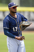 San Antonio Missions first baseman Duanel Jones (17) warms up before the Texas League baseball game against the Midland RockHounds on June 28, 2015 at Nelson Wolff Stadium in San Antonio, Texas. The Missions defeated the RockHounds 7-2. (Andrew Woolley/Four Seam Images)