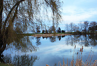 Stock photo: Beautiful blue sky and reflection of trees in the lake shore at Lake Milwaukee in Wisconsin USA.