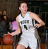 Abigail Selhorn #4 of Carle Place dribbles downcourt during the Nassau County varsity girls basketball Class B final against Oyster Bay at SUNY Old Westbury on Thursday, Feb. 23, 2017. She scored a team-high 19 points to lead the Lady Frogs to victory.