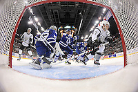 San Antonio Rampage captain Greg Rallo, right, skates after the puck moments before scoring a goal on Toronto Marlies goaltender Christopher Gibson (33), during an AHL hockey game, Sunday, Nov. 24, 2013, in San Antonio. (Darren Abate/AHL)