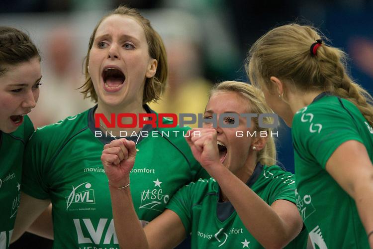 Volleyball, Bundesliga Frauen, USC M&uuml;nster / Muenster vs. Allianz MTV Stuttgart<br /> 03.11.13, Halle Berg Fidel, Muenster <br /> <br /> Jubel Wiebke Silge (#12 USC Muenster), Sarah Petrausch (#7 USC Muenster), Tess von Piekartz (#4 USC Muenster), Ashley Benson (#10 USC Muenster)<br /> <br />   Foto &copy; nph / Kurth