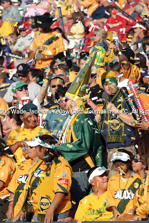 13 November 2005,  Galaxy supporters celebrate Pando's game winning goal.  The MLS Los Angeles Galaxy defeated the New England Revolution in overtime by a score of 1-0 in their MLS Cup championship match at Pizza Hut Park in Frisco, Texas.