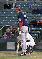 April 12, 2004:  Jeremy Owens of the Pawtucket Red Sox, Triple-A International League affiliate of the Boston Red Sox, during a game at Frontier Field in Rochester, NY.  Photo by:  Mike Janes/Four Seam Images